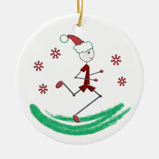 Holiday Stick Runner Guy - front and back Ceramic Ornament