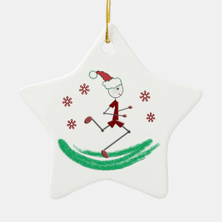 Holiday Stick Runner Guy - front and back Double-Sided Star Ceramic Christmas Ornament