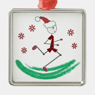 Holiday Stick Runner Guy - (one-sided) Square Metal Christmas Ornament