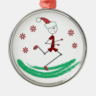 Holiday Stick Runner Guy - (one-sided) Round Metal Christmas Ornament