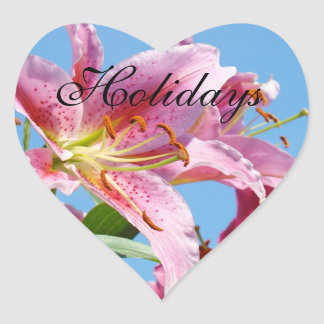 Holiday stickers Pink Lilies Flowers Lilies