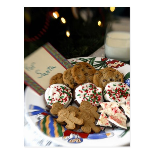 Holiday still life. Christmas cookies & milk for 2 Post Card