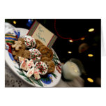 Holiday still life. Christmas cookies & milk for 3 Greeting Card