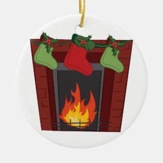 Holiday Stockings Ceramic Ornament