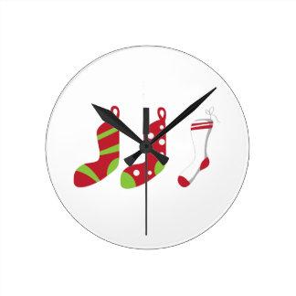 Holiday Stockings Round Wall Clock