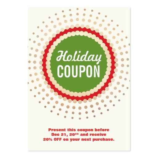 Holiday Store Coupon Promotional Large Business Cards (pack Of 100)