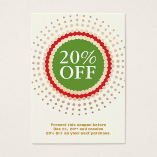 Holiday Store Customer Coupon Business Card
