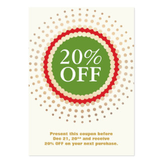 Holiday Store Customer Coupon Large Business Card