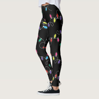 holiday string lights all over printed leggings