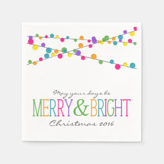 Holiday String Lights Merry Bright Holiday Napkins