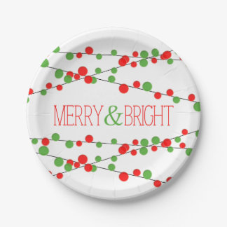 Holiday String Lights Merry Bright Holiday Plate