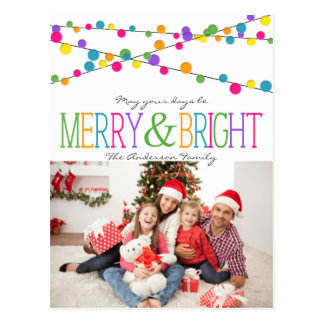 Holiday String Lights Merry Bright postcard