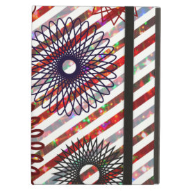 Holiday Stripes and Spirographs Sparkling Pattern iPad Covers
