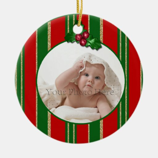 Holiday Stripes Double-Sided Ceramic Round Christmas Ornament