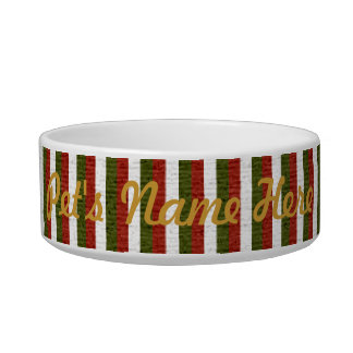 Holiday Stripes Pet Bowl