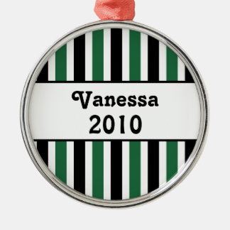 Holiday Stripes Premium Round Christmas Ornament