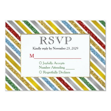 Professional Business Holiday Stripes RSVP Wedding Response Card