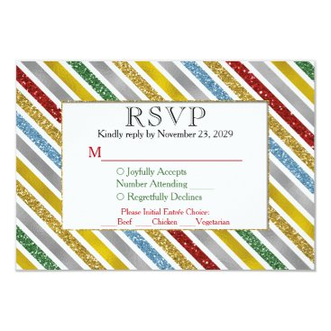 Professional Business Holiday Stripes RSVP Wedding Response Meal Choice Card