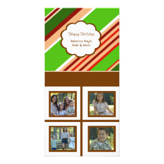 Holiday Stripes White Background Card