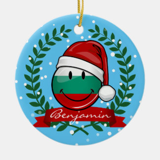 Holiday Style Bulgarian Flag Ceramic Ornament