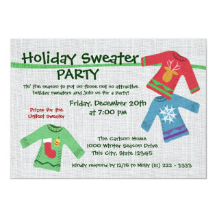 Holiday Sweater Party Card at Zazzle
