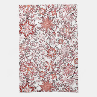 Holiday Swirl and Snowflake Abstract Design Towel