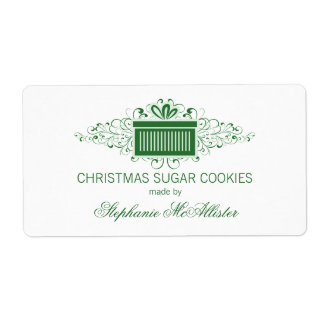 Holiday Swirls Present Baking Labels, Green Shipping Label