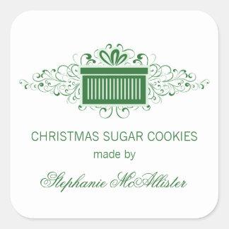 Holiday Swirls Present Baking Stickers, Green