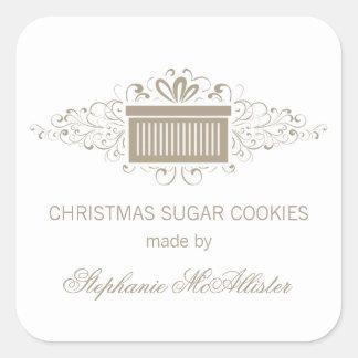 Holiday Swirls Present Baking Stickers, Latte Square Sticker