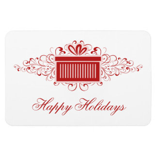 Holiday Swirls Present Rectangle Magnet, Red Magnet