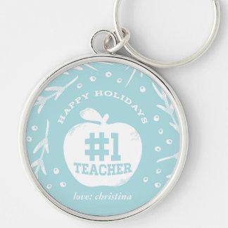 Holiday Teacher Keychain Blue