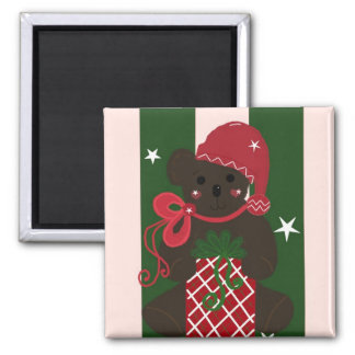 Holiday Teddy Bear on Green Background Magnet