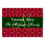 Holiday Thank You Card Red Green Family Monogram