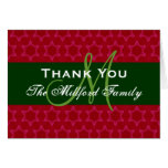 Holiday Thank You Red Green Family Monogram 06 Greeting Card
