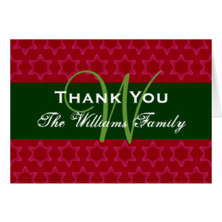 Holiday Thank You Red Green Family Monogram 07 Card