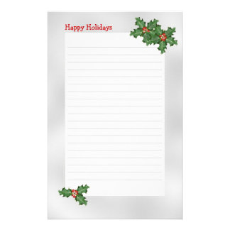 Holiday Themed, Green Holly Lined Writing Paper Custom Stationery