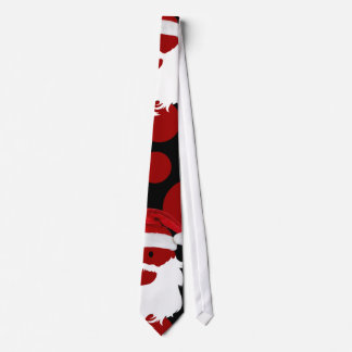 Holiday Tie, Peek-a-boo Santa, Red/White on Black Tie