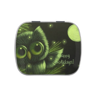HOLIDAY TINY OWL CANDY CAN JELLY BELLY CANDY TINS