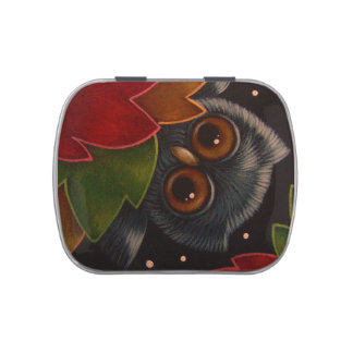 HOLIDAY TINY OWL JELLY BELLY CANDY TIN