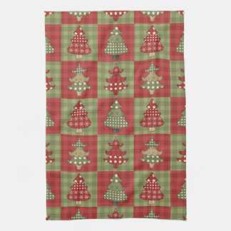 Holiday Traditional Christmas Tree Pattern Hand Towel
