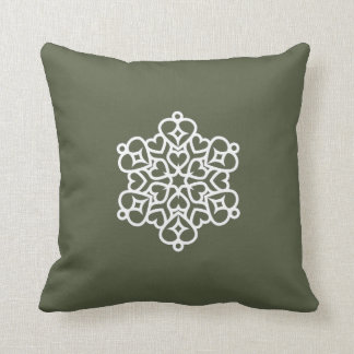 """Holiday Traditions2"" Grn/Grn Whi Snowflake Pillow"