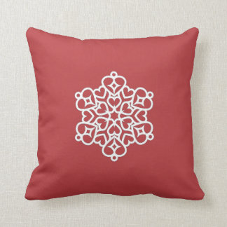 """Holiday Traditions2"" Red/Red Whi Snowflake Pillow"
