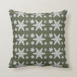 """Holiday Traditions3"" Grn/Grn Whi Snowflake Pillow"