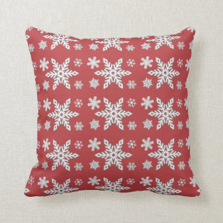 """Holiday Traditions3"" Red/Red Whi Snowflake Pillow"