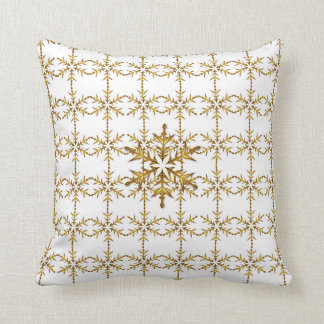 """Holiday Traditions"" Black & White Gold Snowflake Throw Pillow"