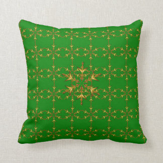 """Holiday Traditions"" Grn/Red Gold Snowflake Pillow"