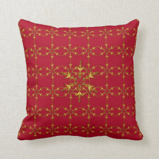 """Holiday Traditions"" Red/Red Gold Snowflake Throw Pillow"
