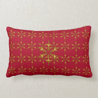 """Holiday Traditions"" Red/Red Gold Snowflake Pillow"