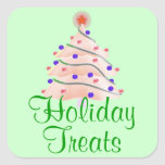 """""""Holiday Treats"""" - Pink Christmas Tree [a] Square Sticker"""