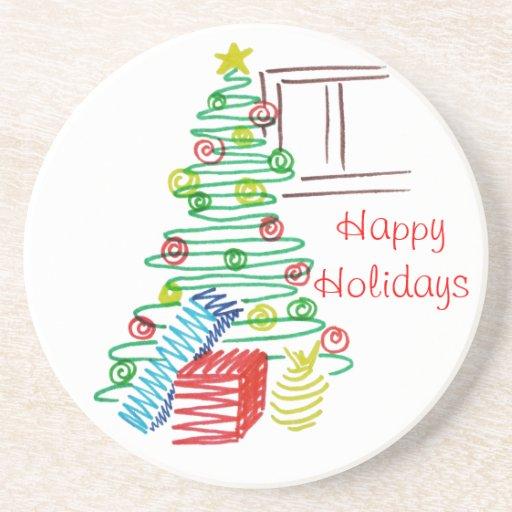 Holiday tree beverage coaster